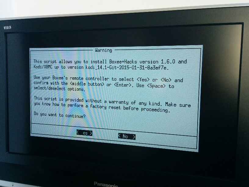 Boxee+Hacks installation screen, from boxeed.in forums.