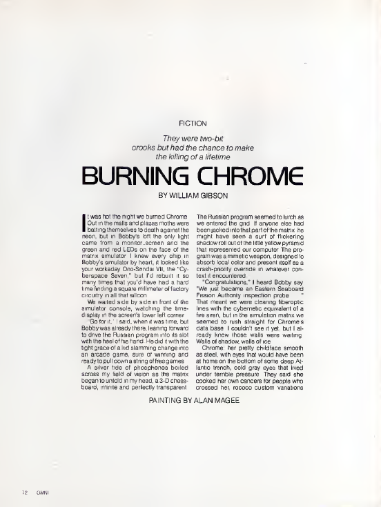 "The first page of William Gibson's ""Burning Chrome,"" featured in Omni's July 1982 issue."