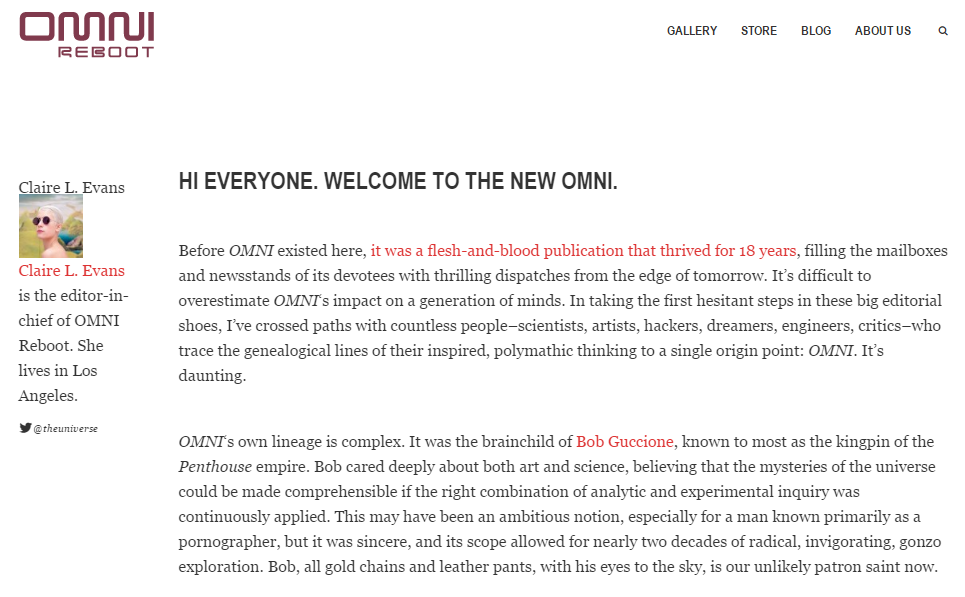 "An Excerpt from ""Hi Everyone. Welcome to the New Omni,"" by Claire Evans served as the introductory article to Omni Reboot (August 2013)."