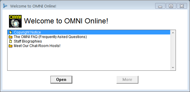 AOL welcomes you to Omni Online, one of Omni's first forays into the web. Image via http://14forums.blogspot.com