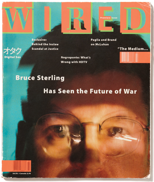 Wired issue #1 from March, 1993. The cover features an article by science fiction writer and Omni contributor Bruce Sterling.